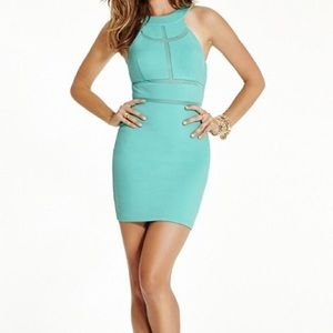 Monaco mesh insert sleeveless bodycon dress